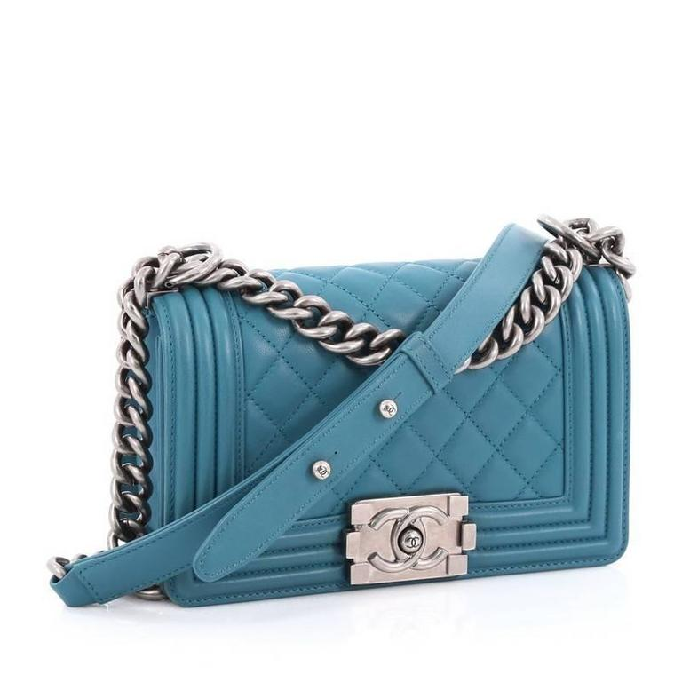 e4bbf886ed5c4e Blue Chanel Boy Flap Bag Quilted Lambskin Small For Sale