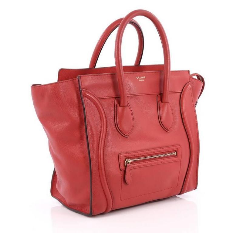 Celine Luggage Handbag Grainy Leather Mini 3