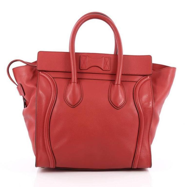 Celine Luggage Handbag Grainy Leather Mini 4