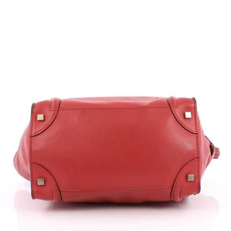 Celine Luggage Handbag Grainy Leather Mini 5