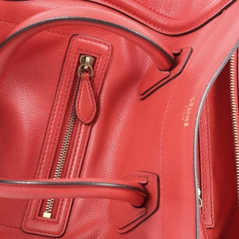 Celine Luggage Handbag Grainy Leather Mini 6