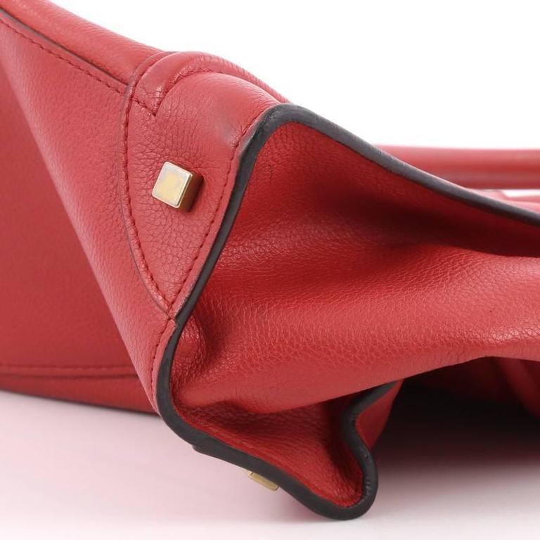 Celine Luggage Handbag Grainy Leather Mini 7
