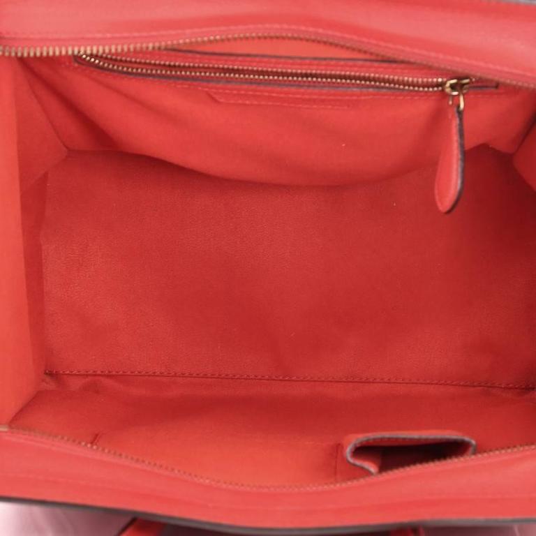 Celine Luggage Handbag Grainy Leather Mini 8