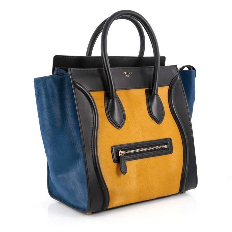 Celine Tricolor Luggage Handbag Pony Hair and Leather Mini 3