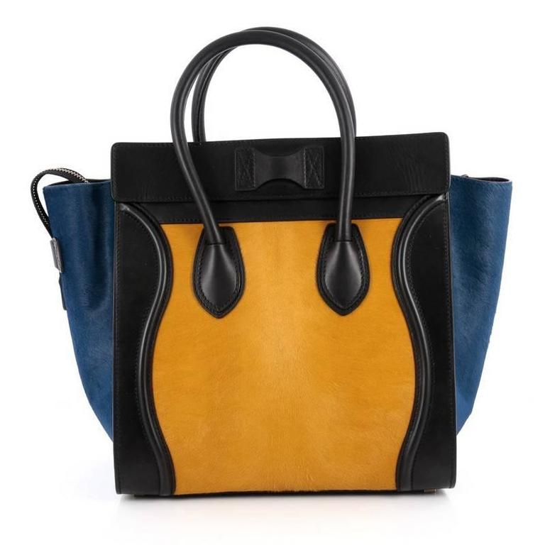 Celine Tricolor Luggage Handbag Pony Hair and Leather Mini In Good Condition For Sale In New York, NY
