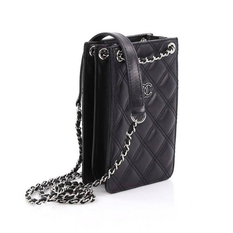 Black Chanel Cc Phone Holder Crossbody Bag Quilted Lambskin For