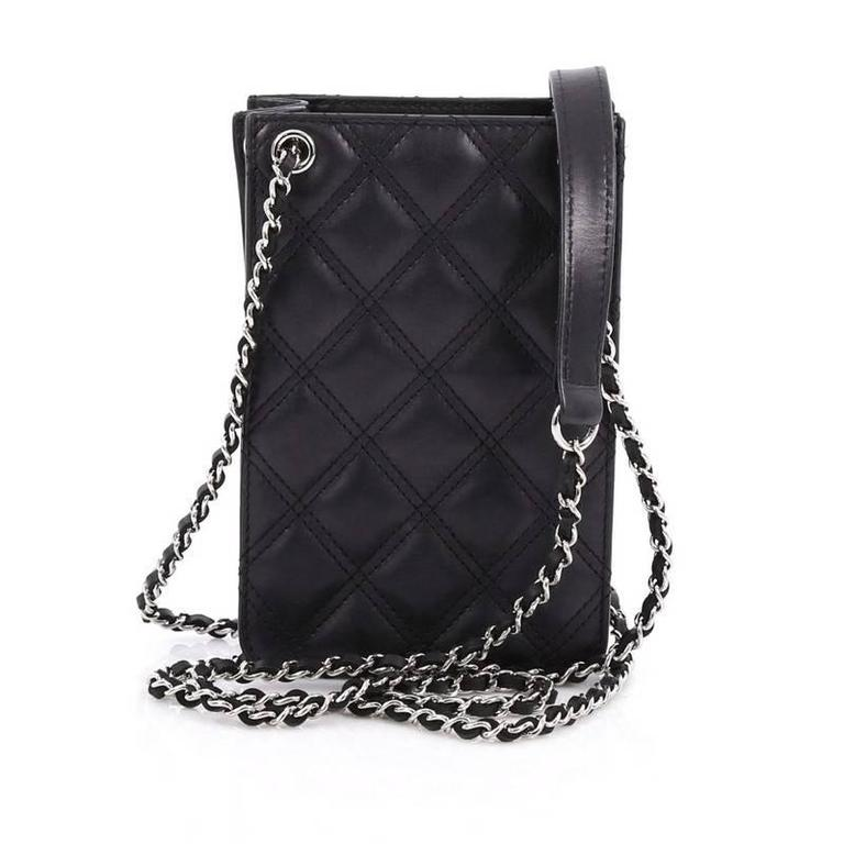 45e53cc78862 Chanel CC Phone Holder Crossbody Bag Quilted Lambskin In Good Condition For  Sale In New York