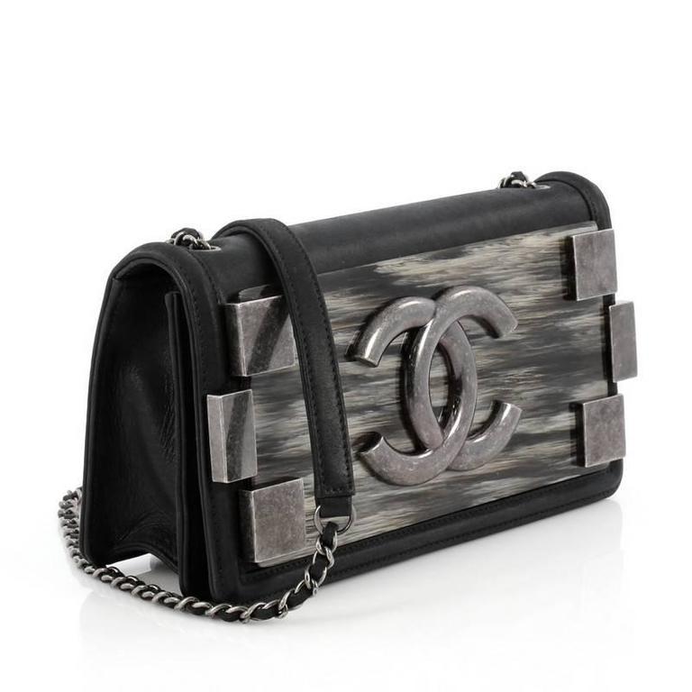 6746d995a356 Black Chanel Boy Brick Flap Bag Iridescent Calfskin and Plexiglass  Horizontal For Sale