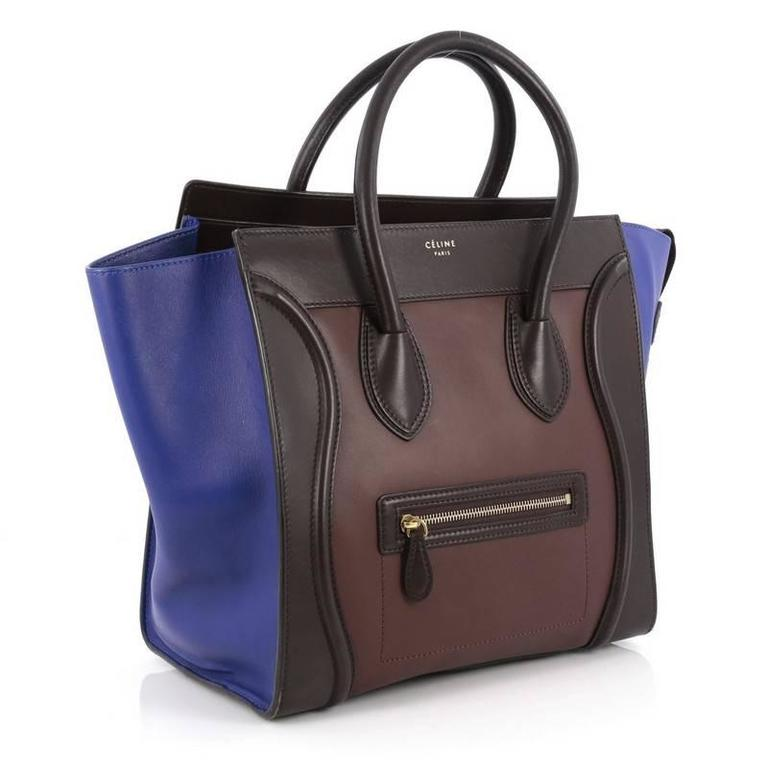 Celine Tricolor Luggage Handbag Leather Micro 3