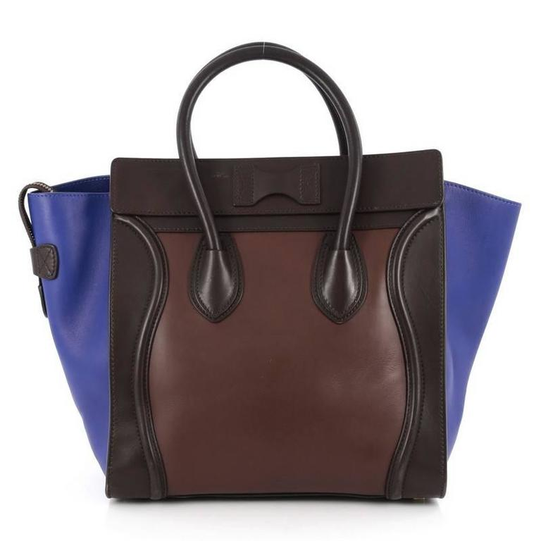 Celine Tricolor Luggage Handbag Leather Micro 4