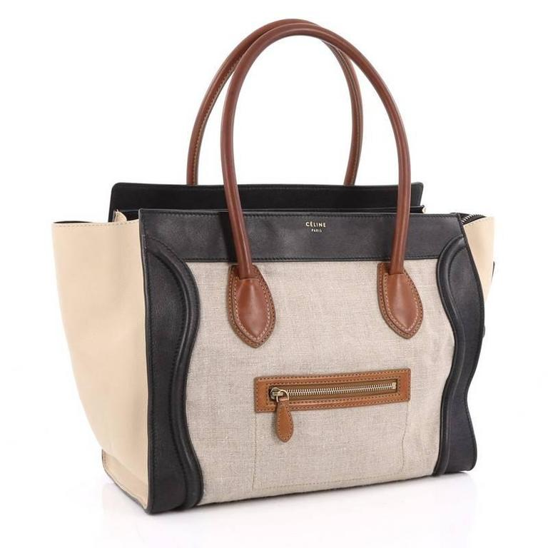 Beige Celine Tricolor Shoulder Luggage Bag Canvas and Leather For Sale