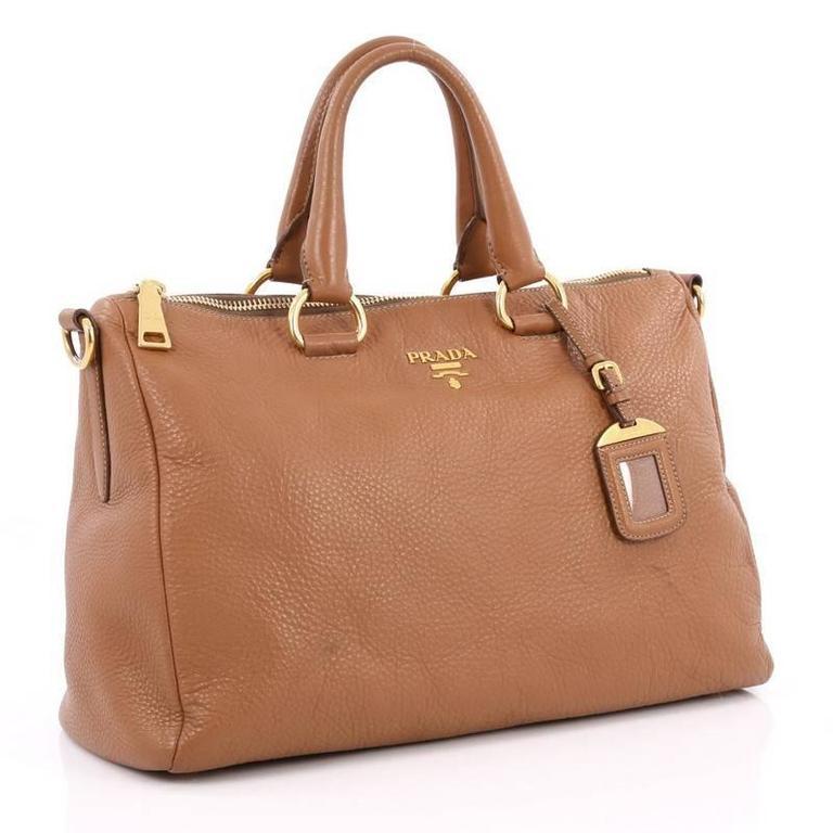 Brown Prada Convertible Boston Bag Vitello Daino Medium For
