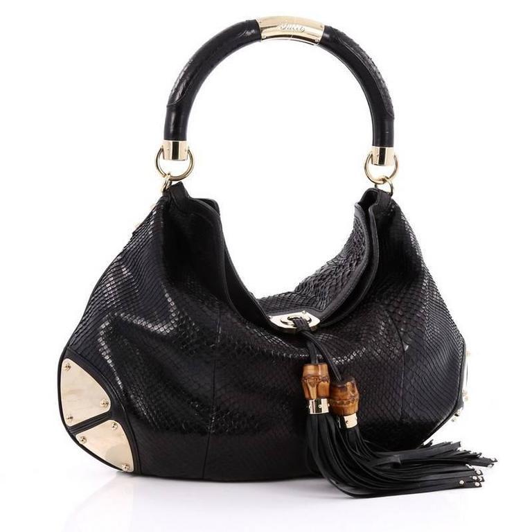 a370192de47 Gucci Indy Hobo Python Large At 1stdibs. Black Python Handbag 2