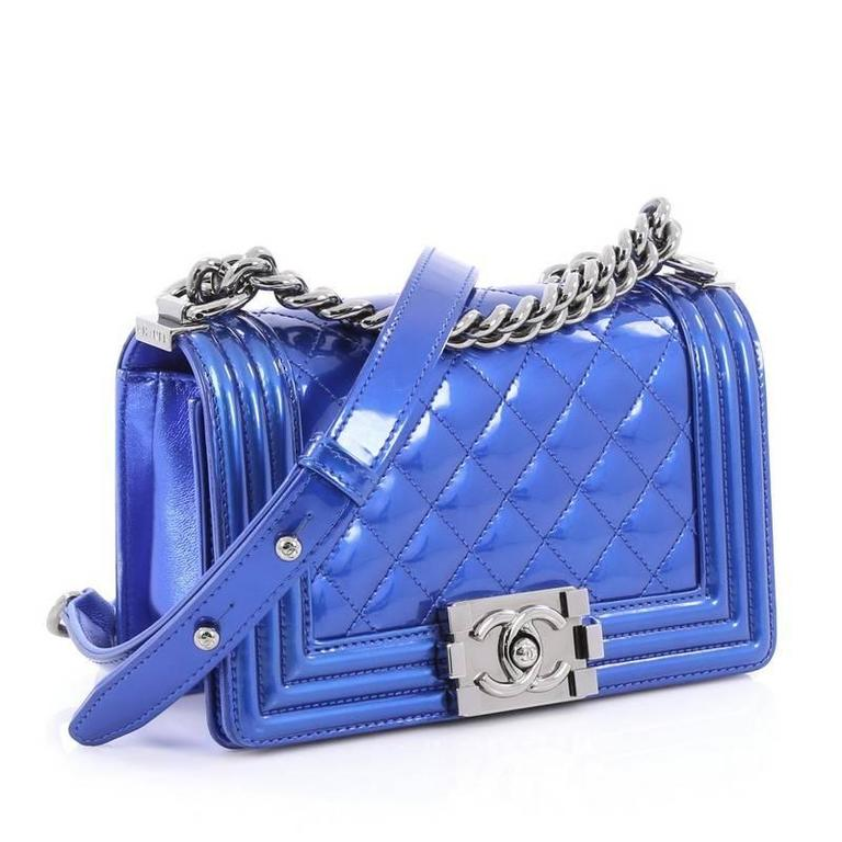 0763e377d5046b Blue Chanel Boy Flap Bag Quilted Patent Small For Sale