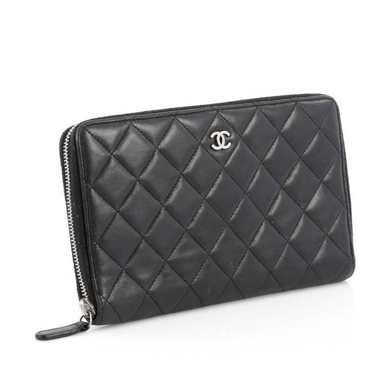 c9a9aeb40c7c Black Chanel Zip Around Organizer Wallet Quilted Lambskin Large For Sale
