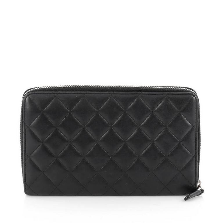 c46fc3684549 Chanel Zip Around Organizer Wallet Quilted Lambskin Large In Good Condition  For Sale In New York