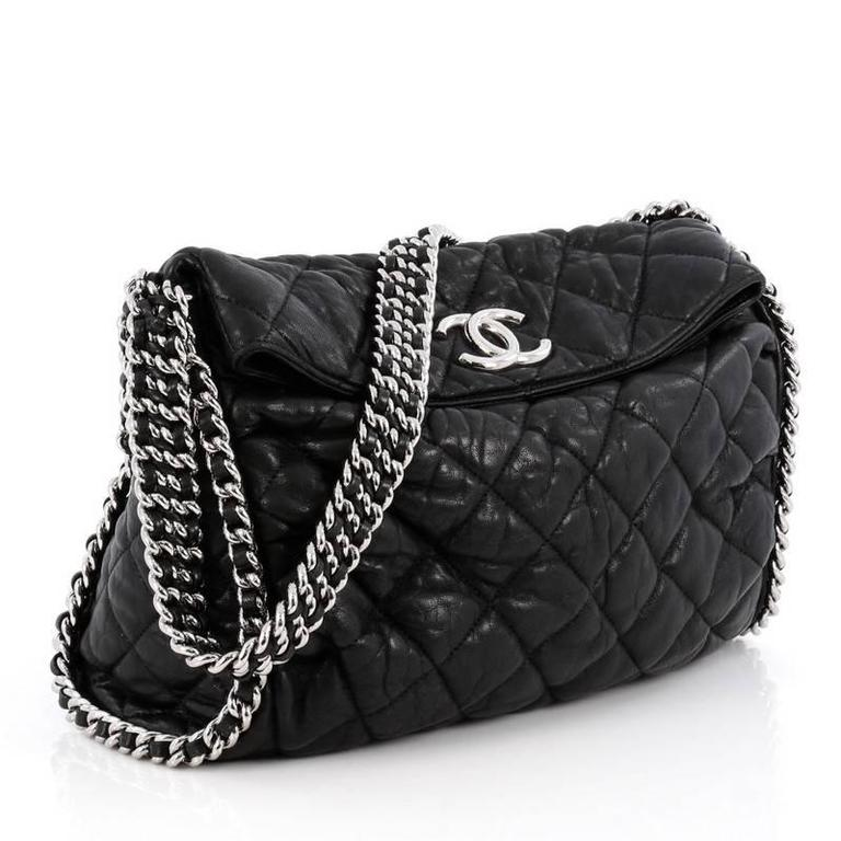 c3c96114253a1b Black Chanel Chain Around Hobo Quilted Washed Lambskin For Sale