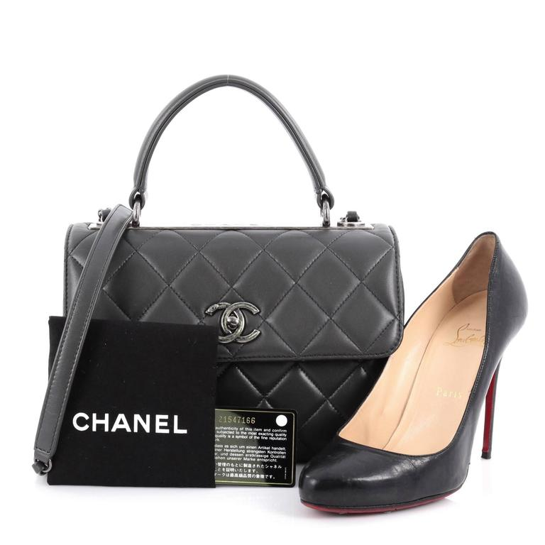 32d7f55db942 This authentic Chanel Trendy CC Top Handle Bag Quilted Lambskin Small is a  marvelous day or