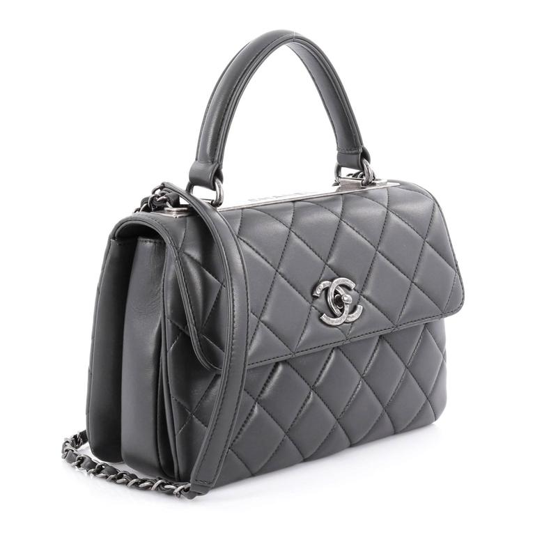 6f29eeef874f Black Chanel Trendy CC Top Handle Bag Quilted Lambskin Small For Sale