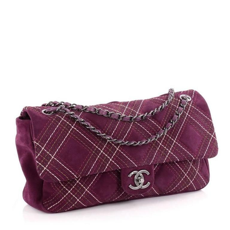 Chanel Saltire Flap Bag Stitched Suede Medium 3