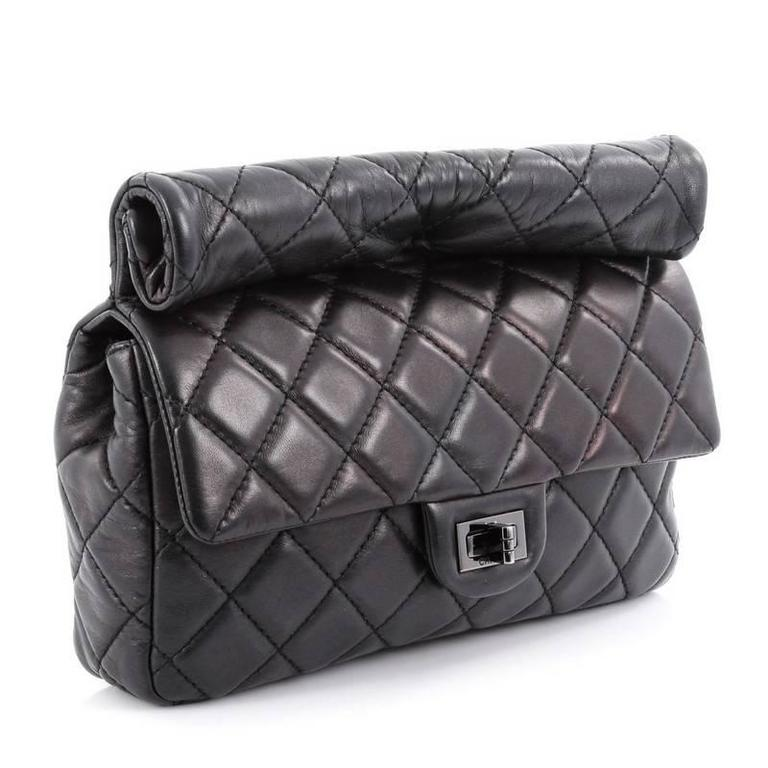 Black Chanel Reissue Roll Clutch Quilted Lambskin Medium For Sale