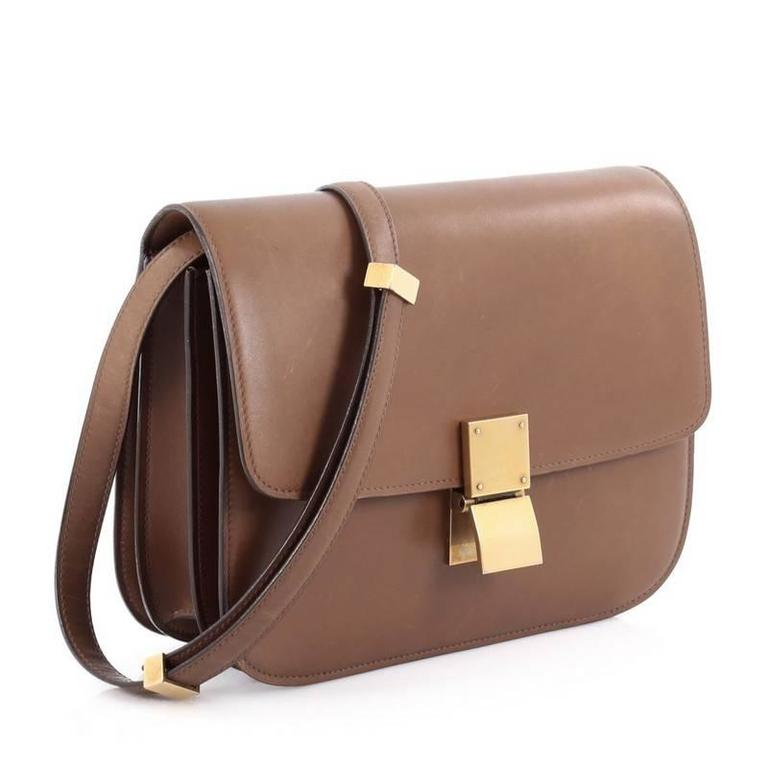 Brown Celine Box Bag Smooth Leather Medium For