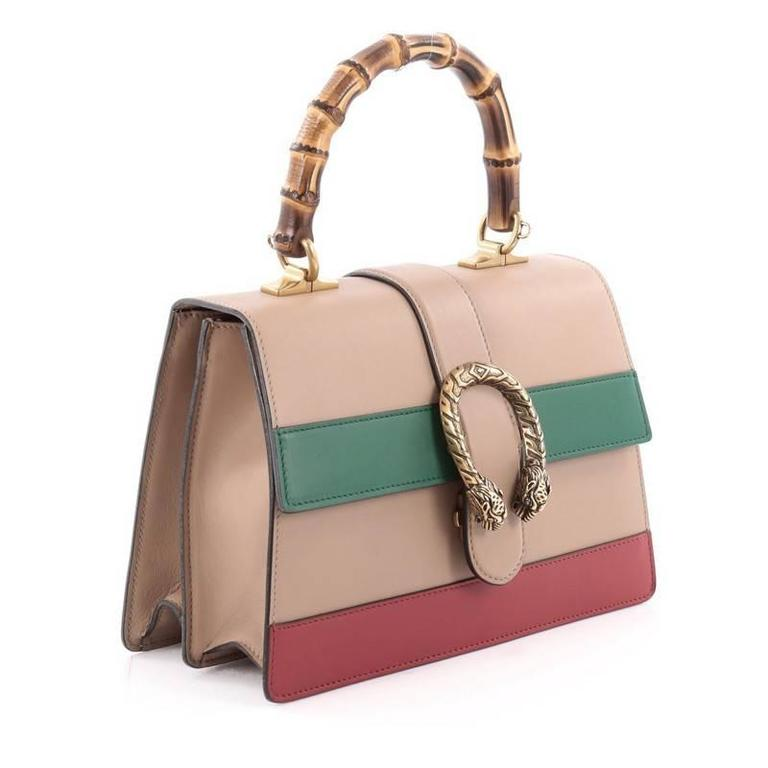 7f698ae41ef416 Gucci Dionysus Bamboo Top Handle Bag Colorblock Leather Medium In Good  Condition For Sale In New