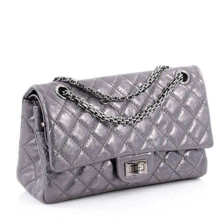 eeedcd7e129c6e Gray Chanel Reissue 2.55 Handbag Quilted Metallic Calfskin 226 For Sale