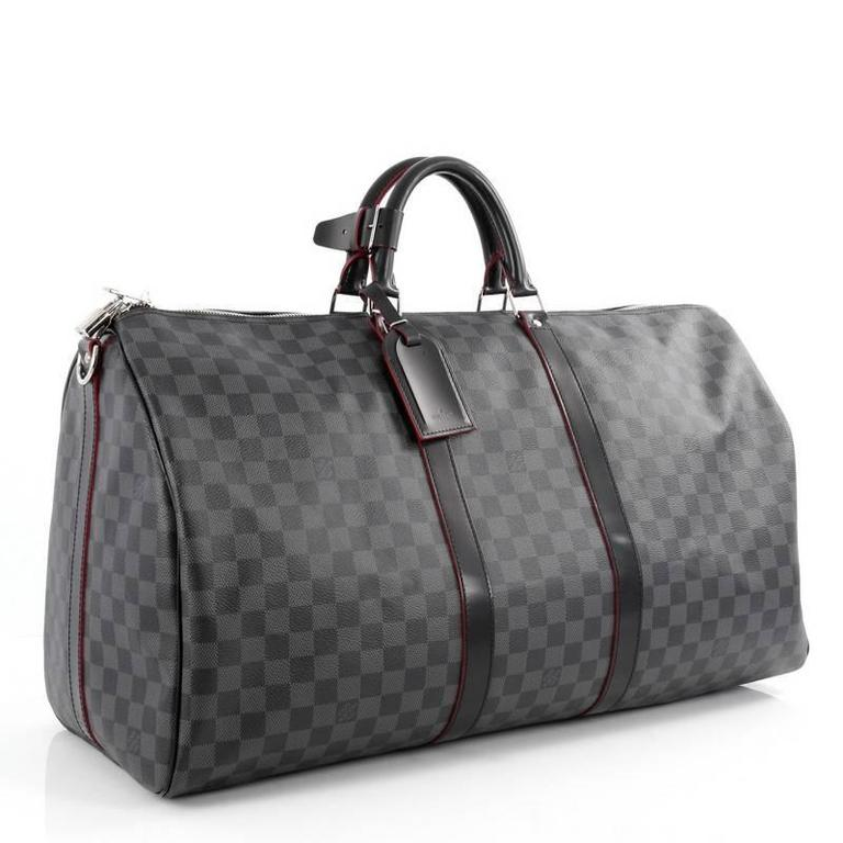 99ebdf84e420 Louis Vuitton Keepall Bandouliere Bag Damier Graphite 55 In Good Condition  For Sale In New York