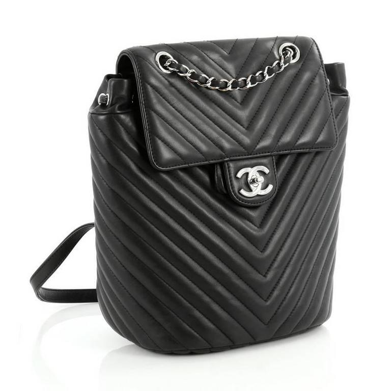 4a0a592cf516 Chanel Urban Spirit Backpack Chevron Calfskin Small In Good Condition For  Sale In New York