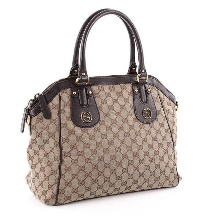 Gucci Scarlett Top Handle Bag Gg Canvas Medium At 1stdibs