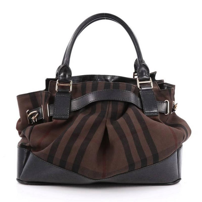 Burberry barbed wire satchel smoked check canvas with