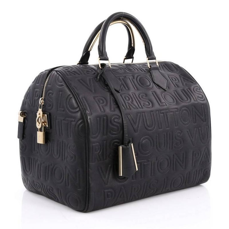 Black Louis Vuitton Paris Sdy Cube Bag Embossed Leather 30 For