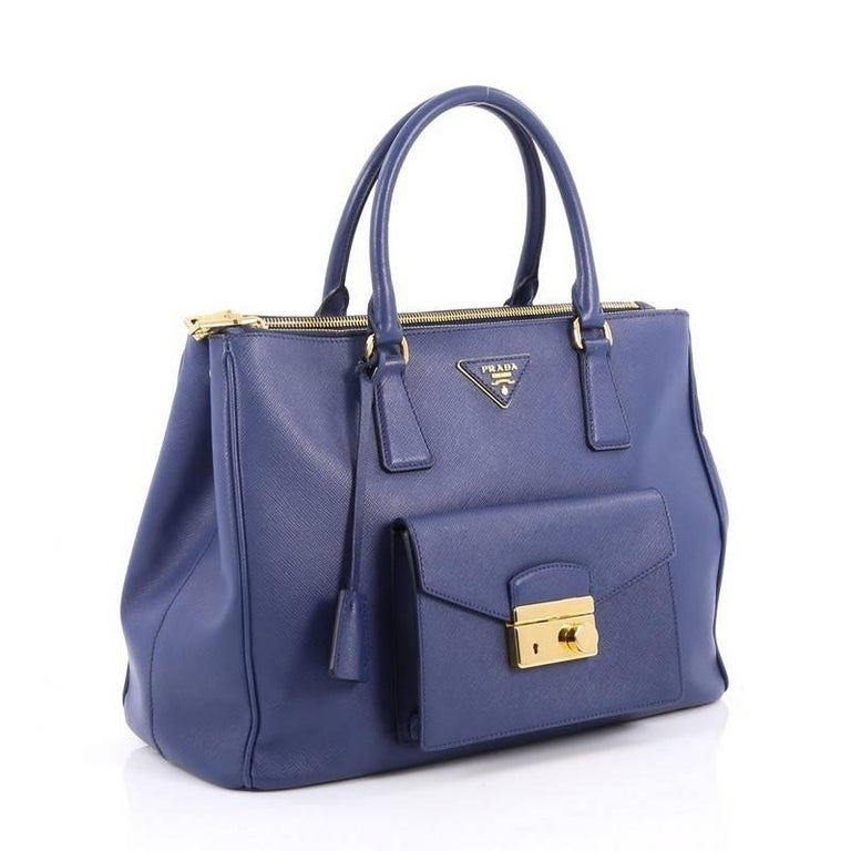 Prada Front Pocket Double Zip Lux Tote Saffiano Leather Medium 3