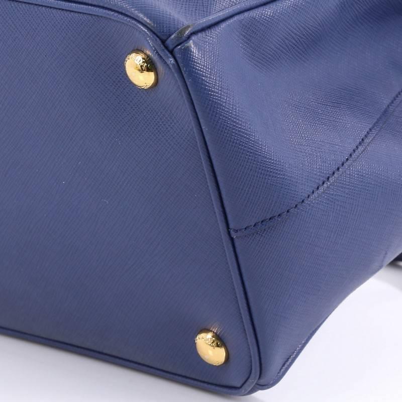 prada soft calf leather tote blue full zipper