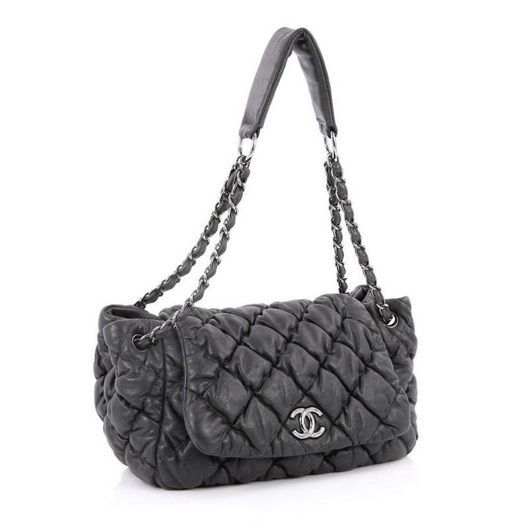 5f140ce460daef Black Chanel Bubble Accordion Flap Bag Quilted Lambskin Medium For Sale