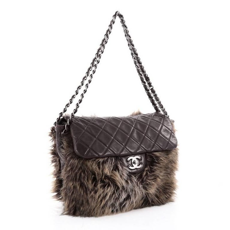 a541798b6c338f Black Chanel Flap Shoulder Bag Faux Fur and Quilted Lambskin Medium For Sale