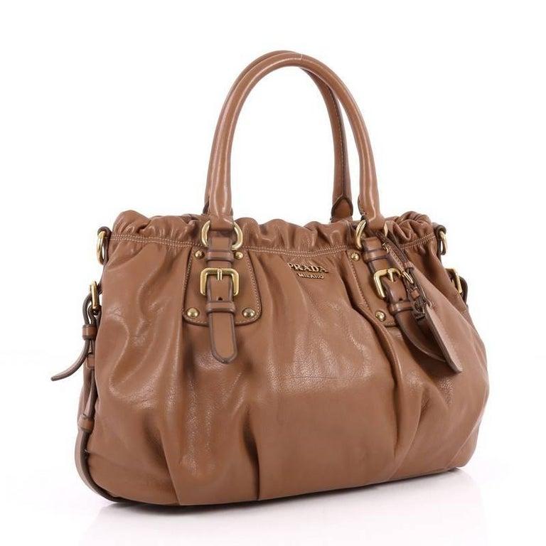 Brown Prada Convertible Belted Satchel Cervo Antik Leather Medium
