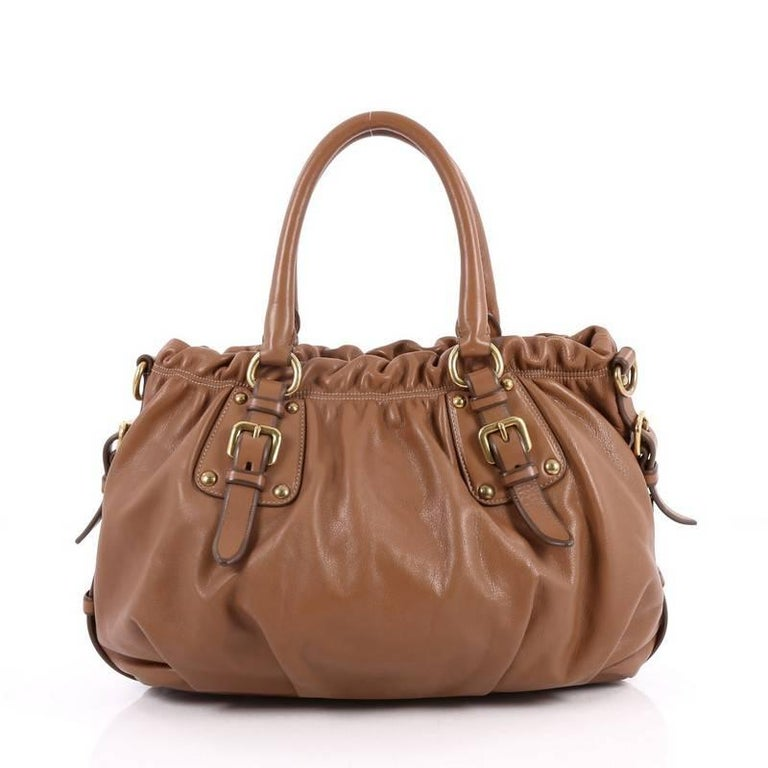 Prada Convertible Belted Satchel Cervo Antik Leather Medium In Good Condition In New York, NY