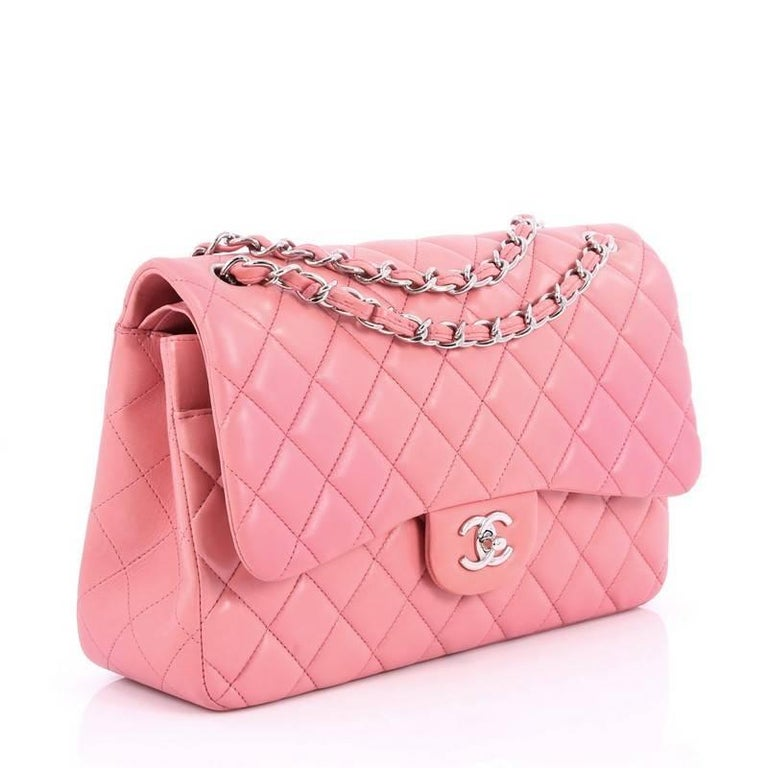 7aeef09cdb4b5a Pink Chanel Classic Double Flap Bag Quilted Lambskin Jumbo For Sale