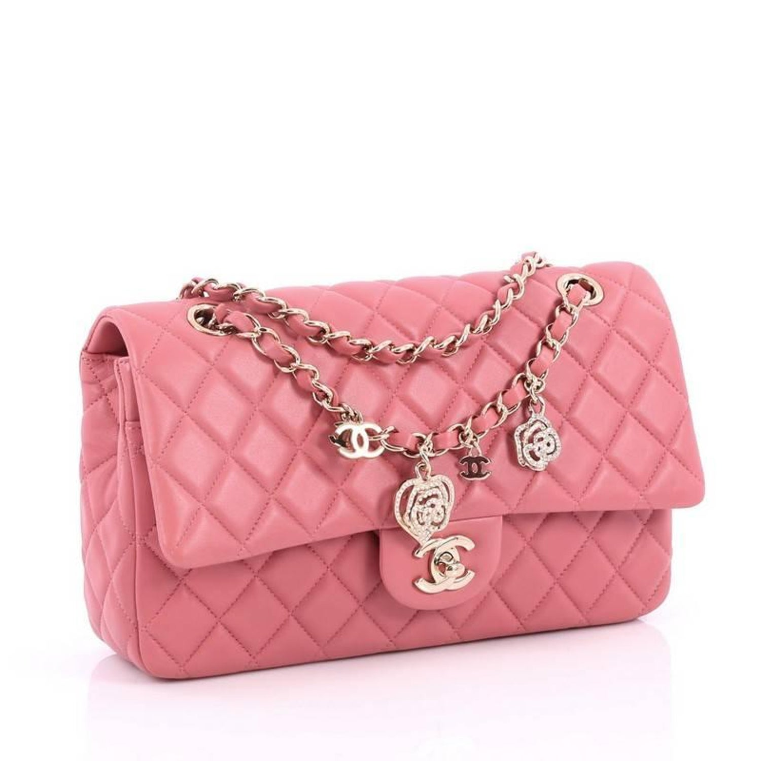a042aa29cf73 Chanel Valentine Crystal Hearts Flap Bag Quilted Lambskin Medium at 1stdibs
