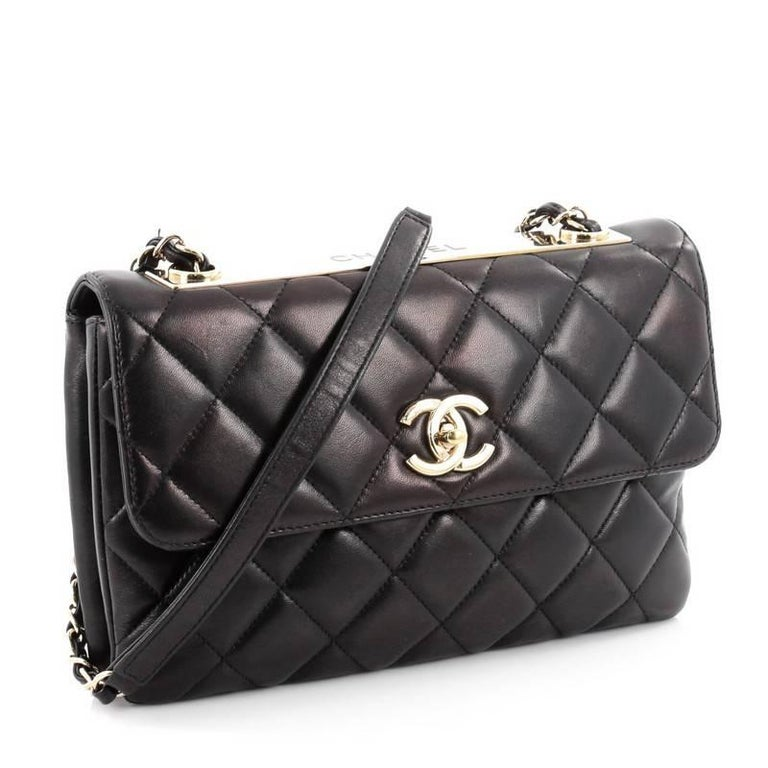 8acda1d8ac1e Black Chanel Trendy CC Flap Bag Quilted Lambskin Medium For Sale