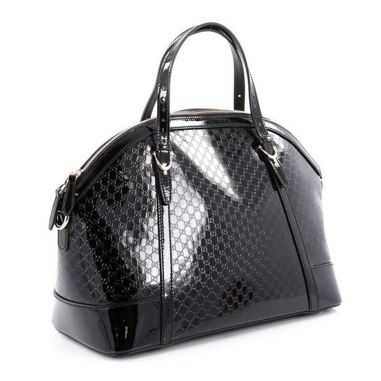 af1356296c6b Black Gucci Nice Top Handle Bag Patent Microguccissima Leather Medium For  Sale