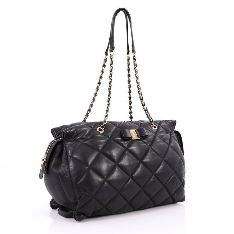 Salvatore Ferragamo Ginette Chain Shoulder Bag Quilted ...