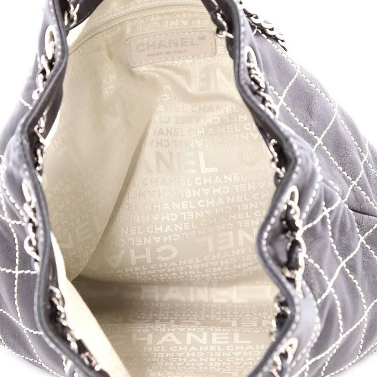 b2a8c45ccffa Chanel Surpique Drawstring Bucket Bag Quilted Lambskin Large For Sale 1