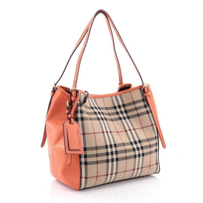 Brown Burberry Canterbury Tote Horseferry Check Canvas and Leather Small  For Sale dd9ce86663dd3