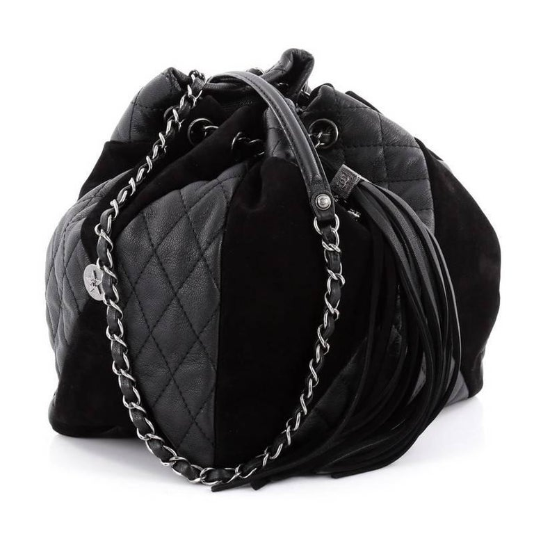 d72910094136 Black Chanel Patchwork Quilted Leather and Suede Small Drawstring Bag For  Sale