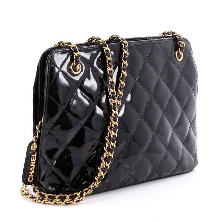 63f42e5788af Black Chanel Vintage Zip Chain Shoulder Bag Quilted Patent Small For Sale