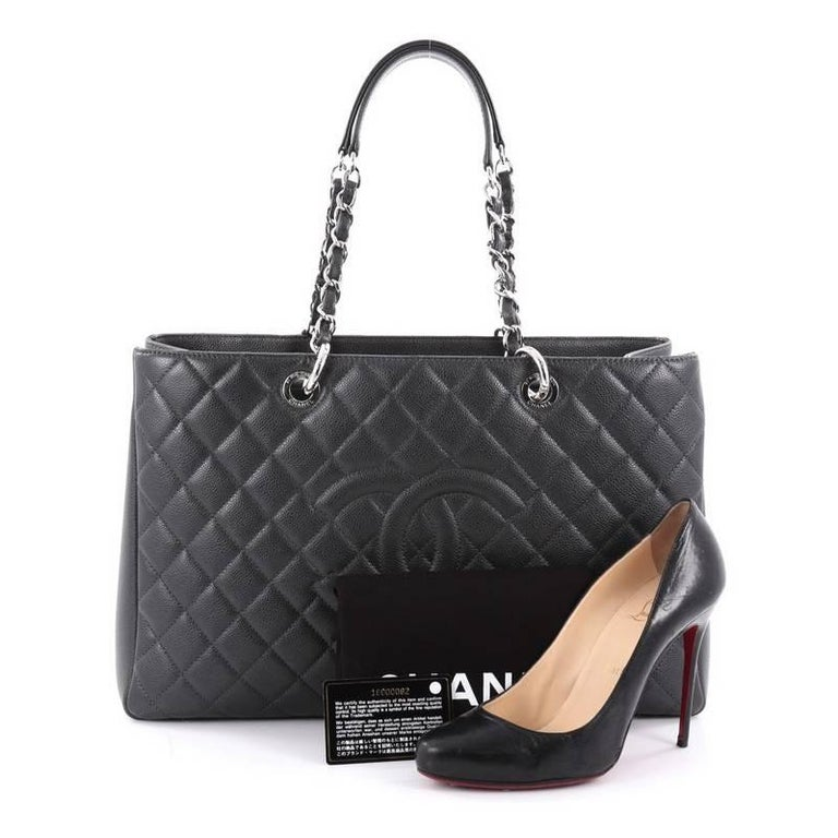 d407522263714b This authentic Chanel Grand Shopping Tote Quilted Caviar XL is perfect for  everyday use with a
