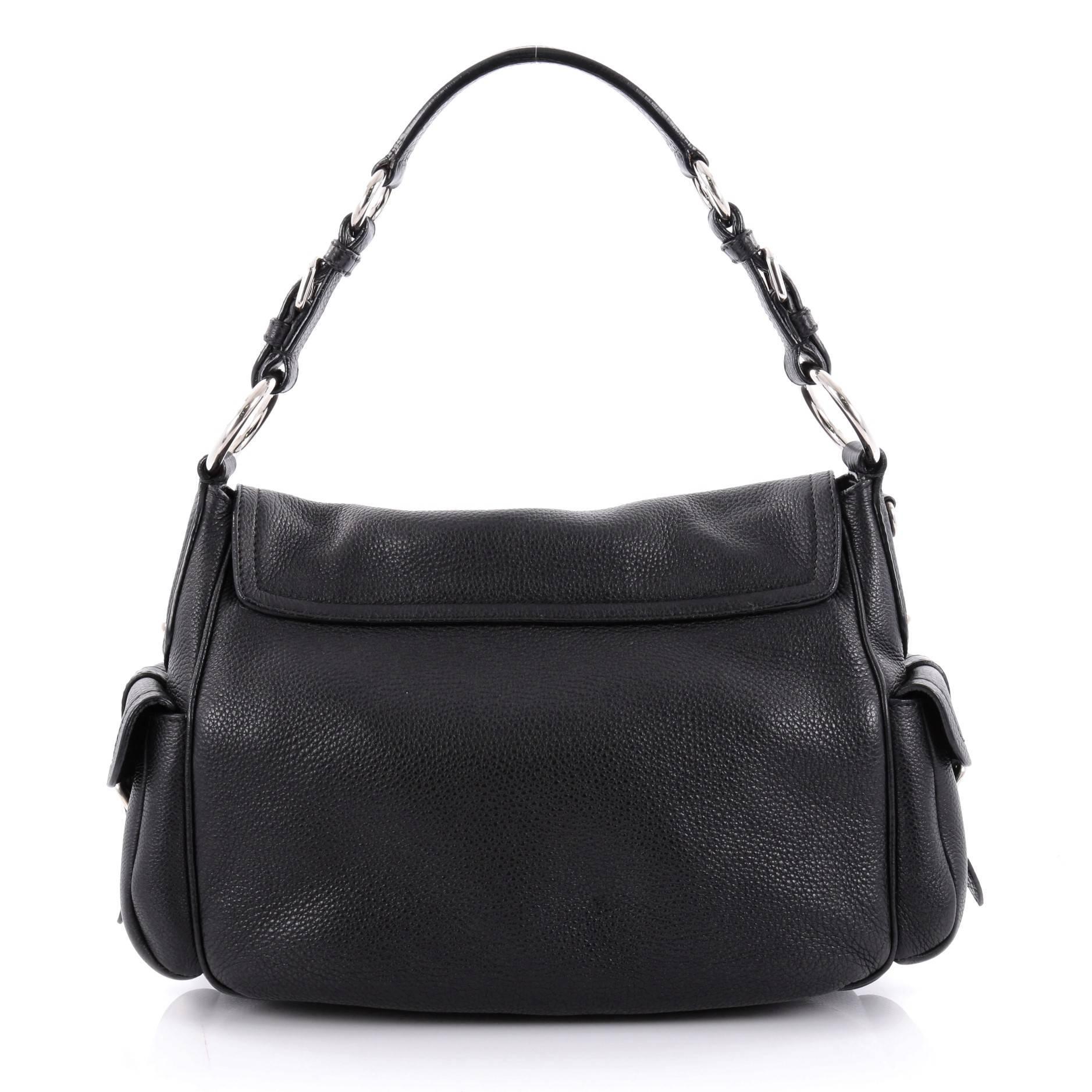 flap structured shoulder bag - Grey Prada s7pBKY